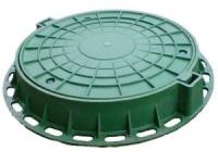 Люк пластиковый садовый ЛПТ В125-63 (Зеленый) полимер, нагрузка 1,5т.